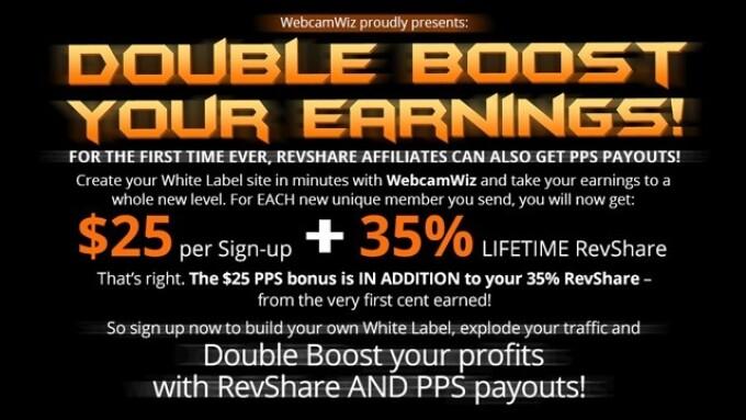 WebcamWiz Offers 'Double Boost' Earnings Promo