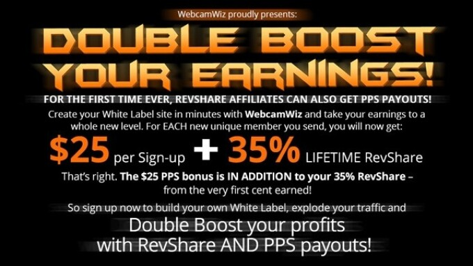 WebcamWiz Offers 'Double Boost' Earnings Promo