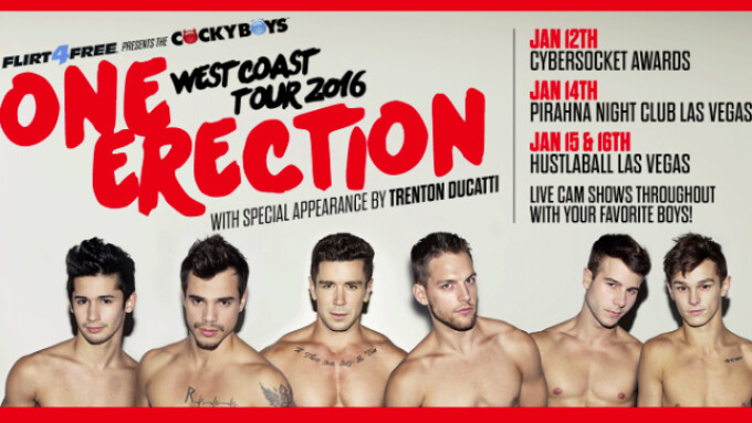 CockyBoys Partners With Flirt4Free for 'One Erection' West Coast Tour