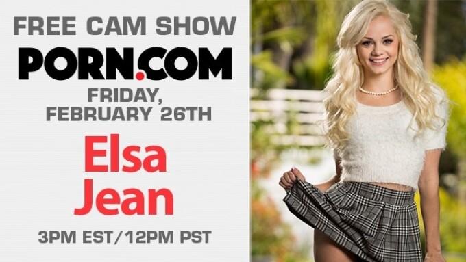 Elsa Jean Streams Free Webcam Show This Friday on Porn.com