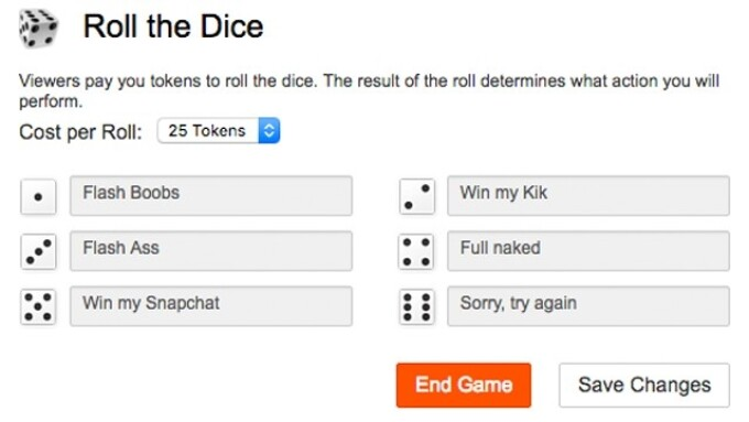CAM4 Announces 'Roll the Dice' Tipping Game