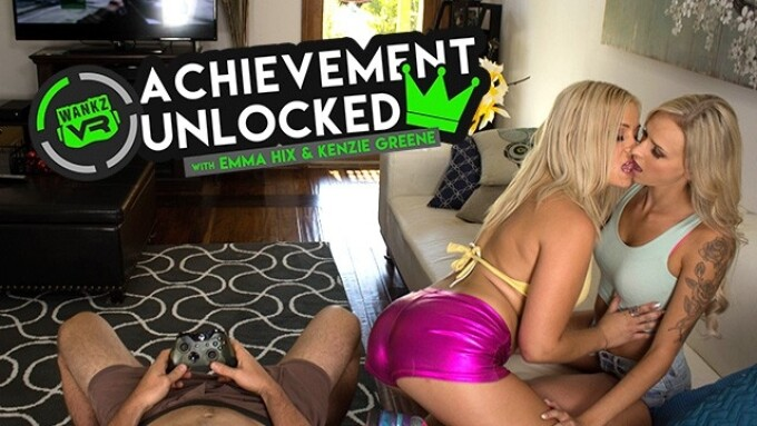Emma Hix and Kenzie Greene in WankzVR's 'Achievement Unlocked'