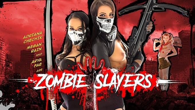 Adriana Chechik, Megan Rain, Arya Fae in WankzVR's 'Zombie Slayers'