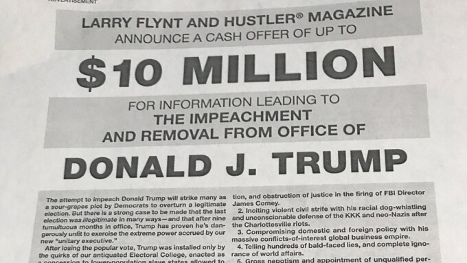 Flynt Plans to Offer $10M for Trump's Impeachment, Removal