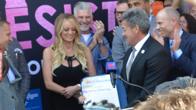 Stormy Daniels Receives Key to West Hollywood, Draws Hundreds