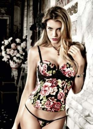 Floral Microfiber And Lace Bustier With Underwire