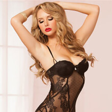 Rose Lace and Dot Mesh Chemise/Thong Set (Style 9965)