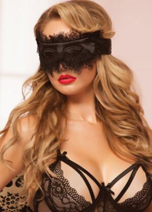 Satin and Eyelash Lace Mask