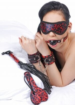 Frisky Red Leopard 6 Piece Bondage Set