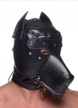 Master Series Muzzled Universal BDSM Hood with Removable Muzzle