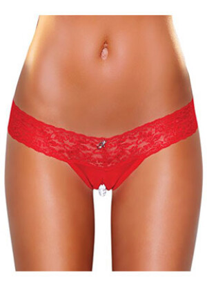 Crotchless Stimulating Panties with Pearl Pleasure Beads