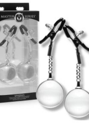 Master Series Spheres Adjustable Nipple Clamps with Weighted Clear Orbs