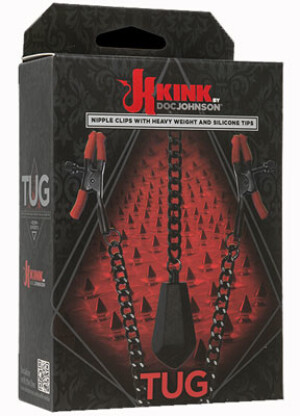 Kink by Doc Johnson TUG - Nipple Clips with Heavy Weight and Silicone Tips