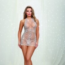 High-Neck Chemise with Patterned Silver Sequin Embellishment