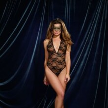 Lace Teddy with Gold Metallic Lace Thong Back and Matching Gold Metallic Lace Mask